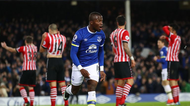 Enner Valencia of Everton celebrates scoring his side's first goal against Southampton