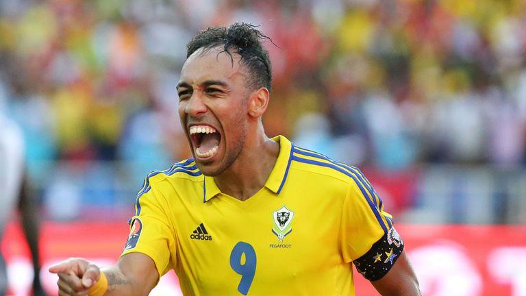 Aubameyang celebrates after scoring a goal for Gabon