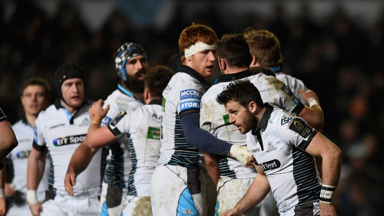 Glasgow celebrate Tommy Seymour's try which opened the scoring