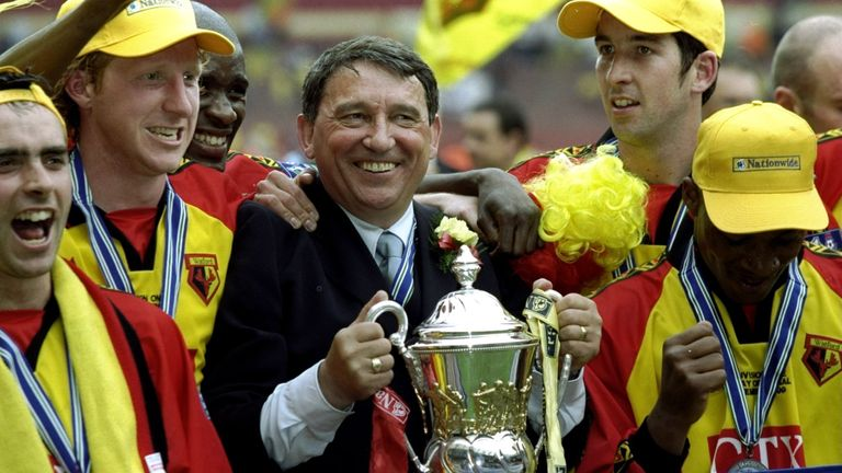 Watford players and Taylor celebrate victory and promotion after the Division One Play-Off Final against Bolton in 1999