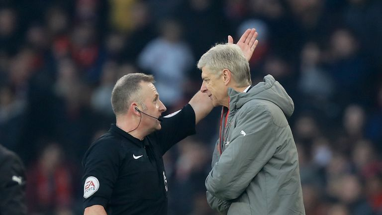 Wenger  was sent to the stands by referee Jon Moss