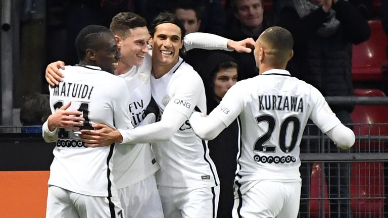 Julian Draxler and his PSG team-mates celebrate