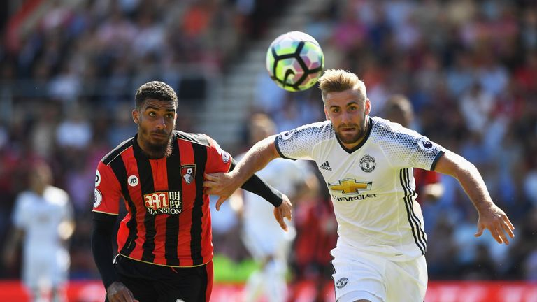Luke Shaw in action against Bournemouth at the start of the season