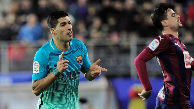 Luis Suarez netted his 15th league goal of the season - equal with Lionel Messi