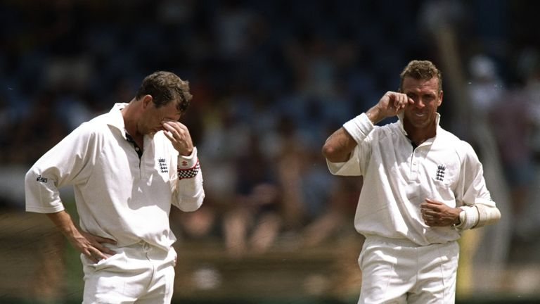 Mike Atherton (L) and his successor as England captain, Alec Stewart, pictured during the 1998 tour of the West Indies