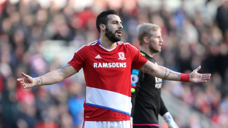 Alvaro Negredo gestures in frustration during the Premier League match at the Riverside Stadium