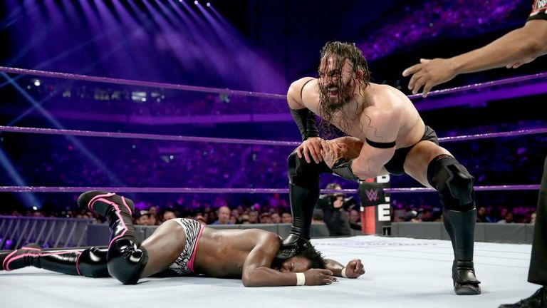 Neville stomps on Rich Swann at the Royal Rumble