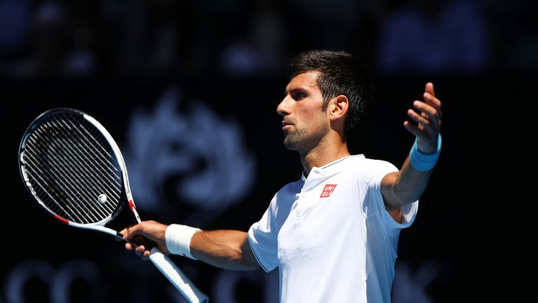 Skysports Novak Djokovic Australian Open Reacts During His Shock Loss To Denis Istomin In The Second Round Of