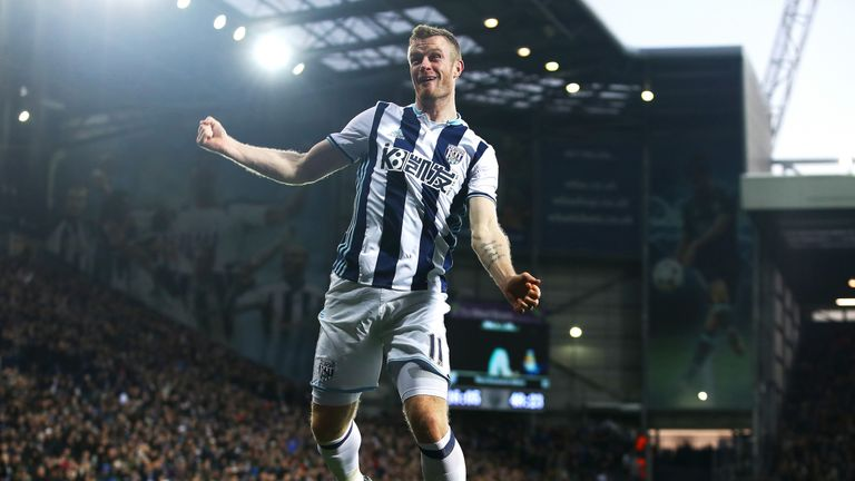 Chris Brunt celebrates his 49th-minute equaliser after scoring with a powerful header