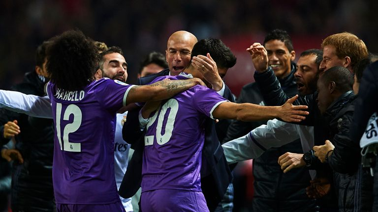 Marco Asensio celebrates after scoring Real's first goal