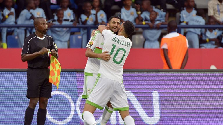 Riyad Mahrez scored twice in Algeria's draw with Zimbabwe