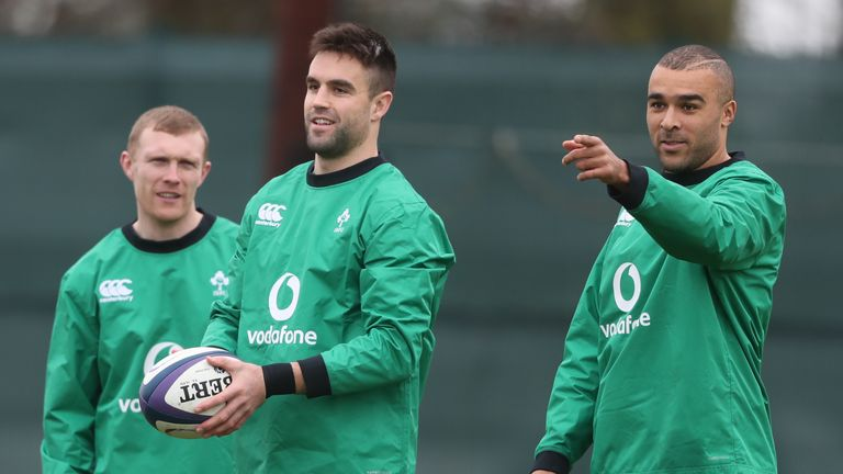 Earls, Conor Murray and Simon Zebo during an Ireland training session