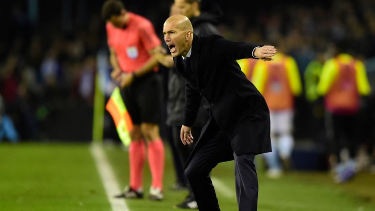 Real Madrid coach Zinedine Zidane shouts instructions from the sideline