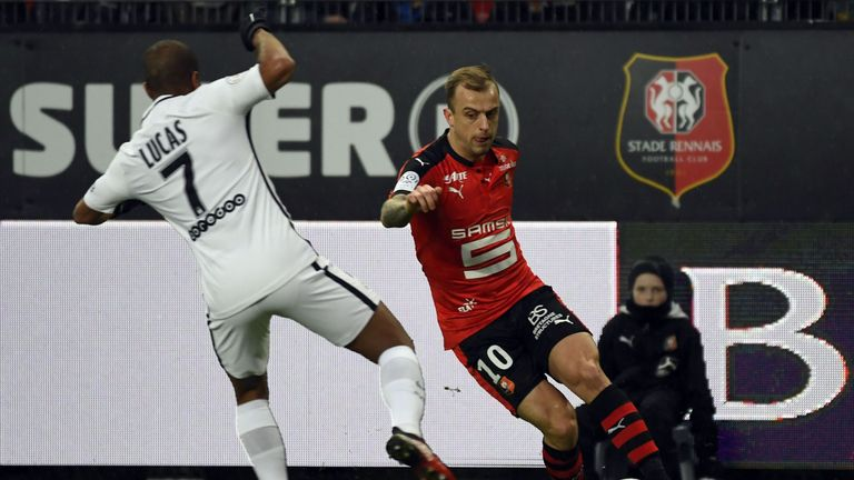 Grosicki's in action on the wing during his time with French club Rennes