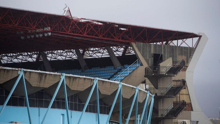 The roof of the Balaidos was damaged during Friday's storms and repairs cannot yet be made
