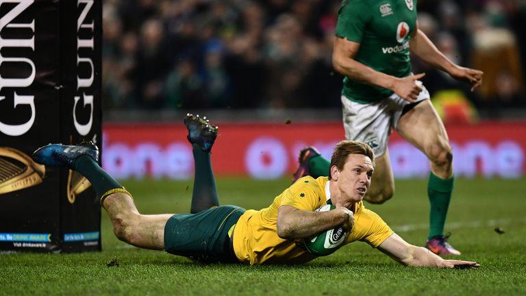 Dane Haylett-Petty of Australia scores a try against Ireland in November
