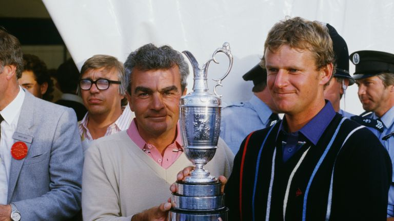 Scottish golfer Sandy Lyle with his caddie Dave Musgrove after winning the British Open at Royal St George's Golf Club, July 1985. (Photo by David Cannon/G