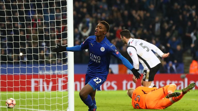 Demarai Gray celebrates his solo goal against Derby