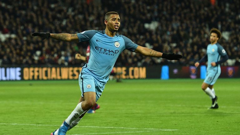 Gabriel Jesus scored his first goal for Manchester City against West Ham