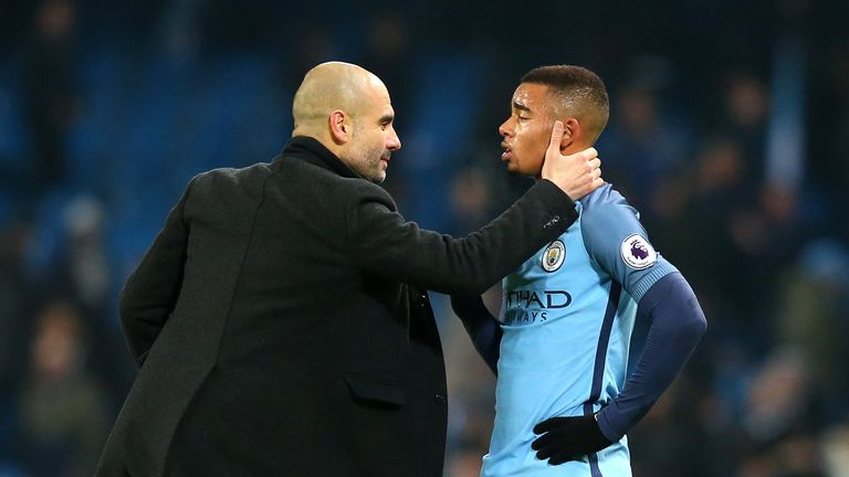 Image result for Pep Guardiola with Gabriel Jesus