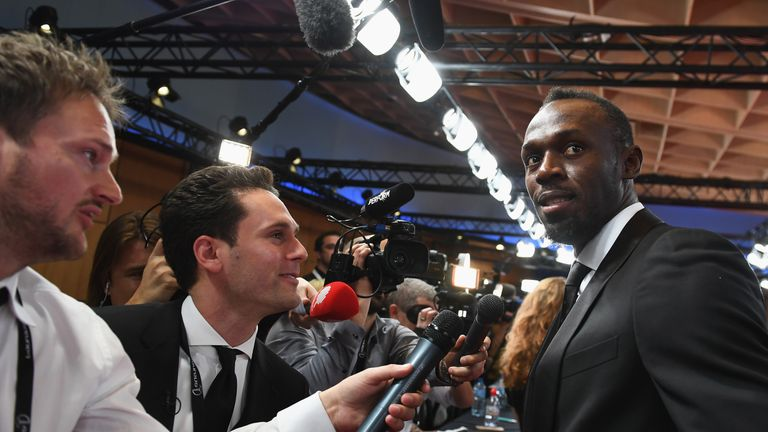 Bolt talks to the media at the Laureus World Sports Awards
