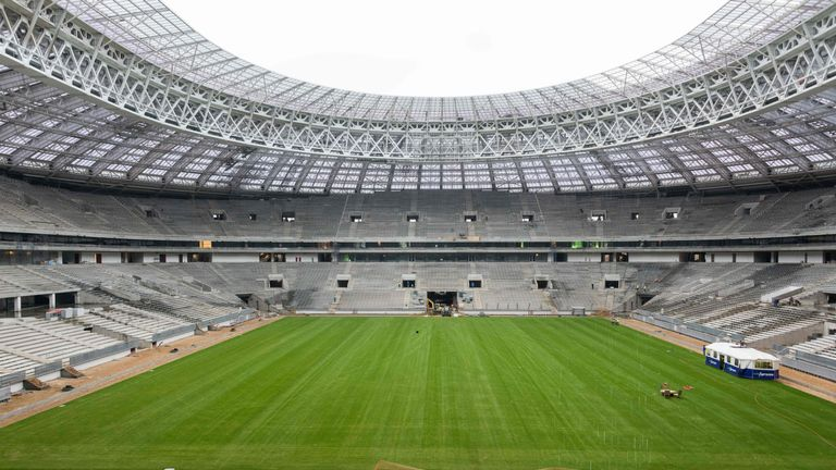 Moscow's Luzhniki Stadium - which will host the final - during renovation works ahead of the 2018 World Cup