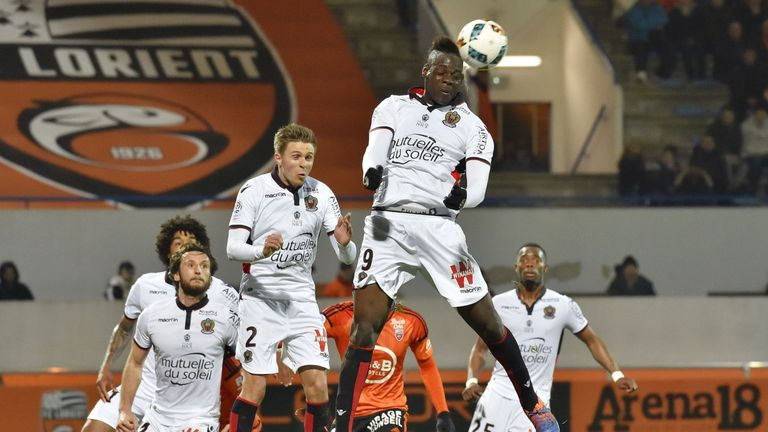 Balotelli was sent off after 68 minutes at the Stade du Moustoir