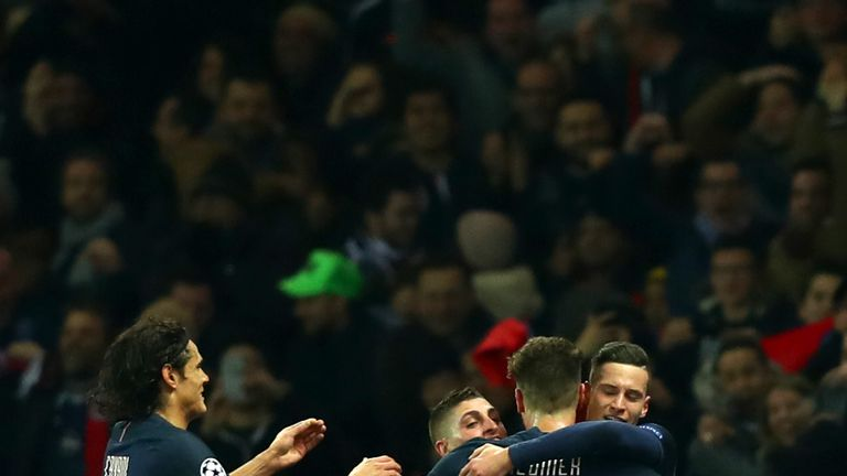 Julian Draxler celebrates his first Champions League goal for PSG