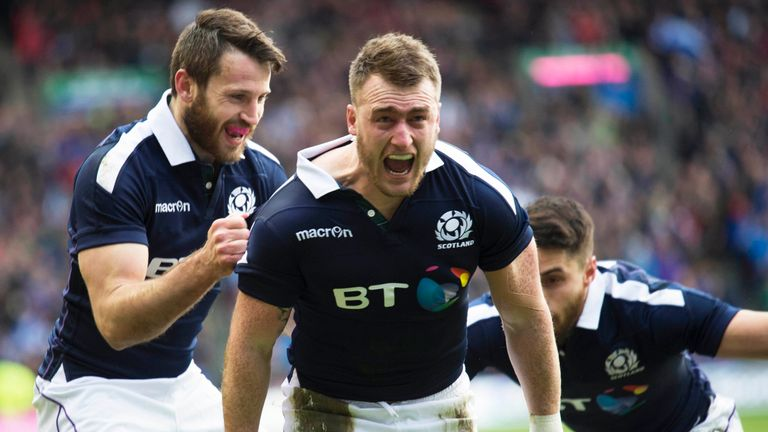 Stuart Hogg scored two tries in 13 first-half minutes at Murrayfield