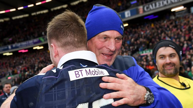 Vern Cotter congratulates Stuart Hogg after Scotland's win over Wales