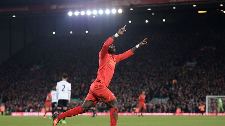 Sadio Mane celebrates after giving Liverpool the lead