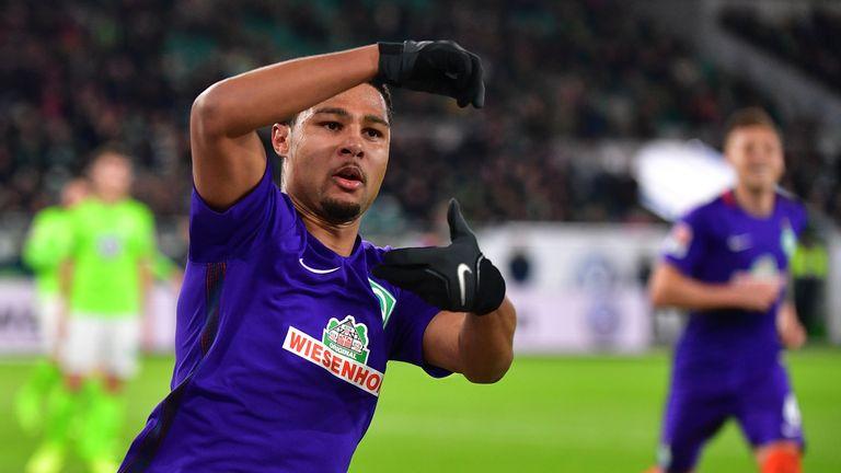 Serge Gnabry scored both goals for Werder Bremen against Wolfsburg