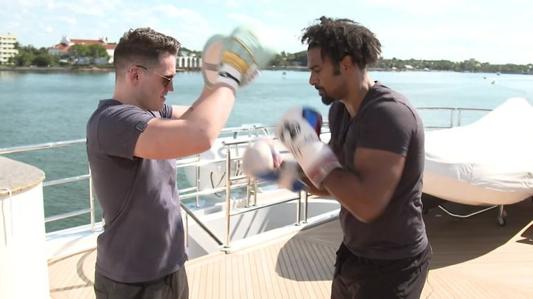 Haye trained out in Miami alongside coach McGuigan