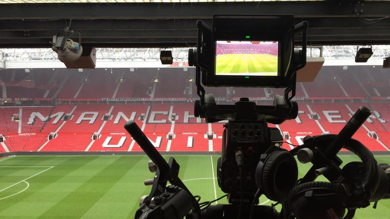 One of more than 20 cameras stationed around Old Trafford for Sky Sports' broadcast  has a prime view of the action