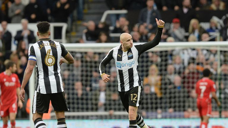 Newcastle United's Jonjo Shelvey thought he got one back - but it was given as a Korey Smith own goal
