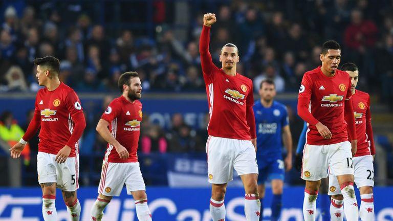 Zlatan Ibrahimovic (centre) celebrates doubling United's lead