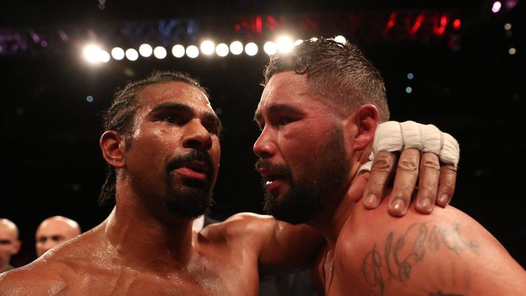 Bellew and Haye embrace after their first fight