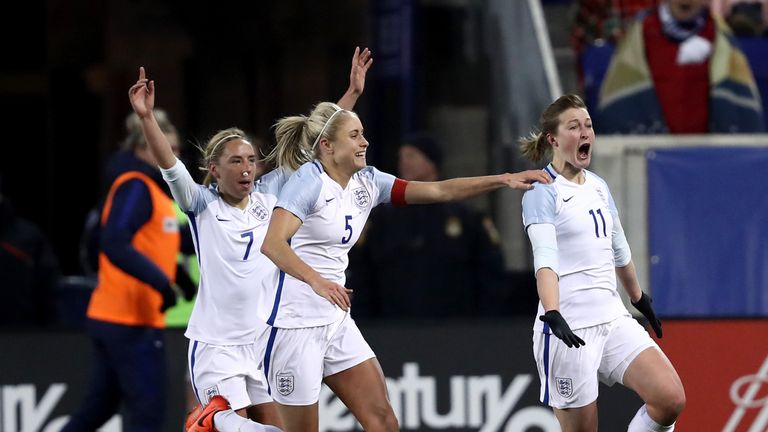 Ellen White celebrates England's winning goal against world champions USA earlier this month
