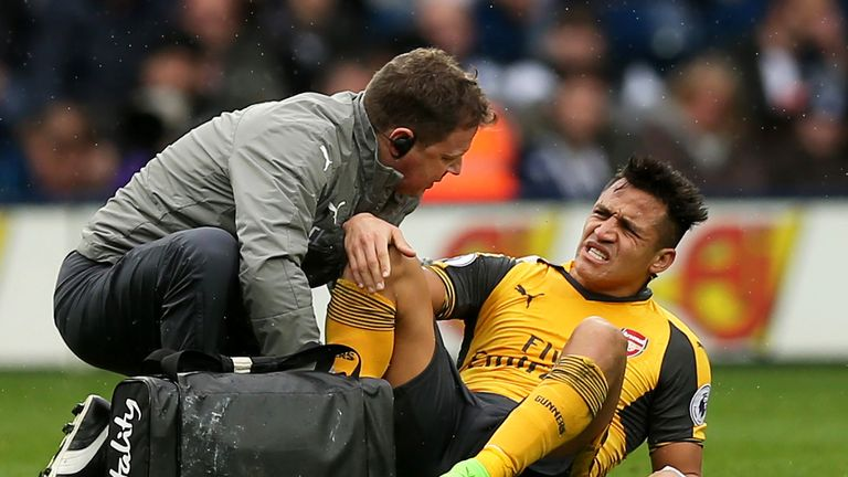 """Arsene Wenger afterwards said Sanchez's ankle was """"in a terrible state"""""""