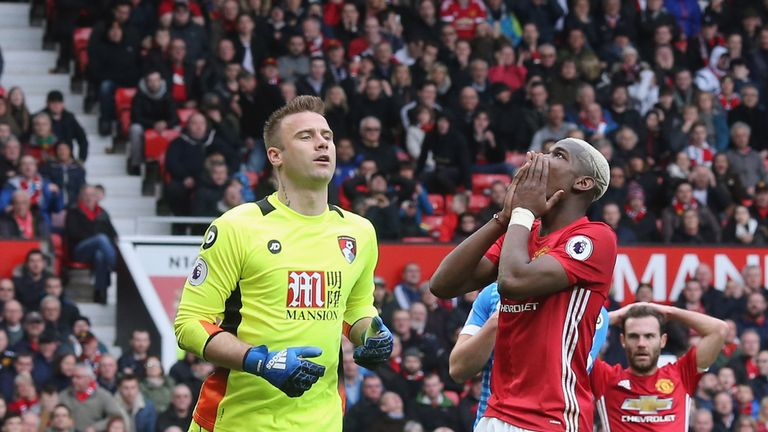 Pogba shows his frustration after a missed chance against Bournemouth
