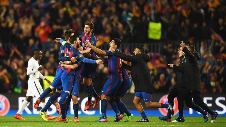 Barcelona players celebrate after coming back from a 4 goal, first leg deficit to beat PSG 6-5 on aggregate