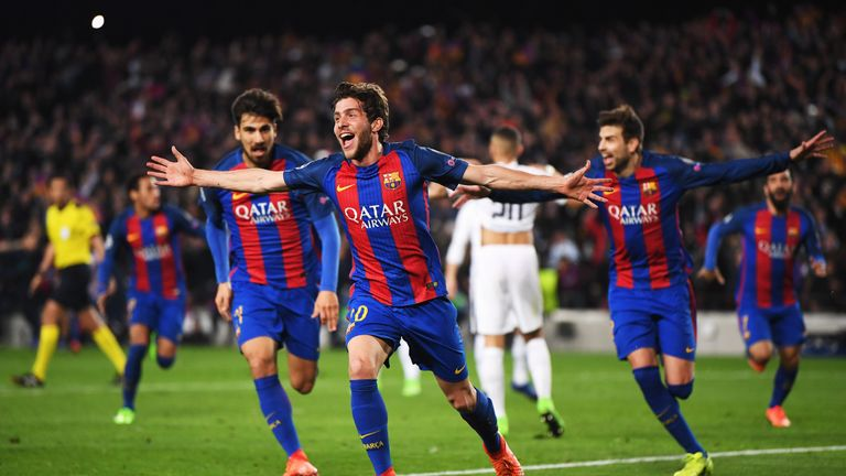 Sergi Roberto celebrates his late winner