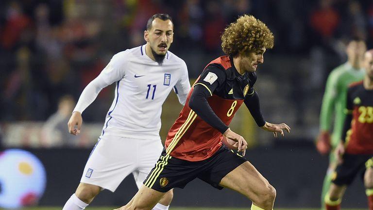 Belgium's midfielder Marouane Fellaini controls the ball