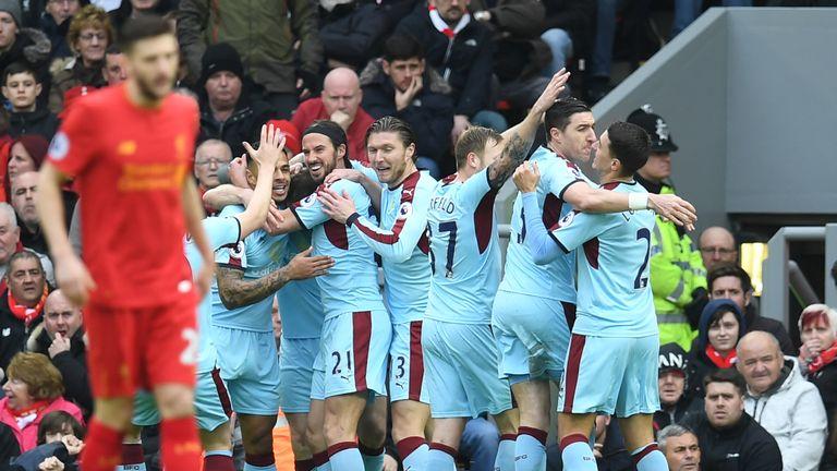 Burnley celebrate their seventh-minute opener