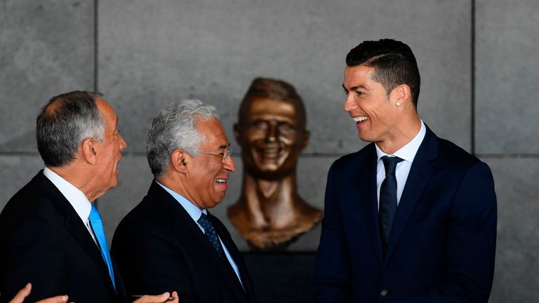 Cristiano Ronaldo (right) with Portuguese Prime Minister Antonio Costa (centre) and Portuguese President Marcelo Rebelo de Sousa at the unveiling