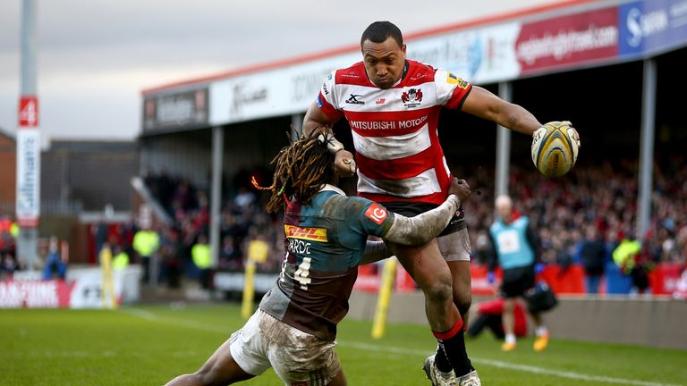 David Halaifonua charges through the tackle of Marland Yarde
