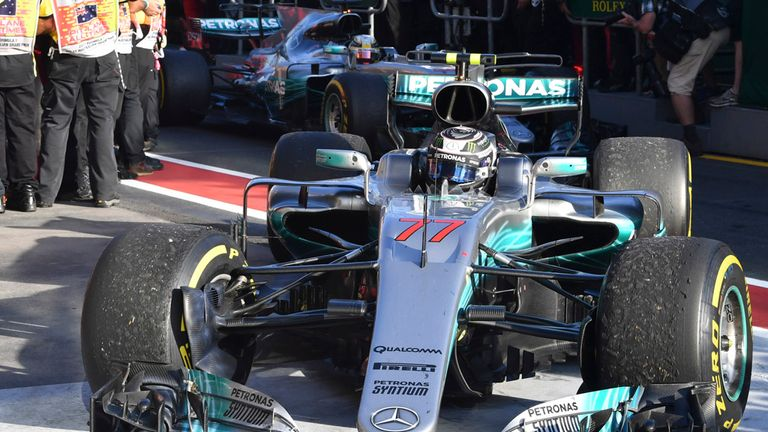 Valtteri Bottas finished third in his first Mercedes race on Sunday