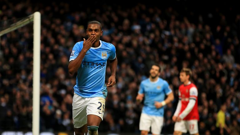 Fernandinho celebrates scoring against Arsenal