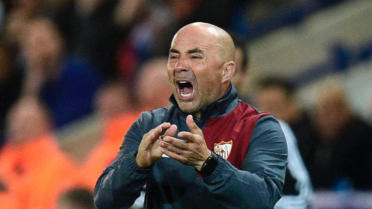 Sevilla's Argentine coach Jorge Sampaoli was also later sent off