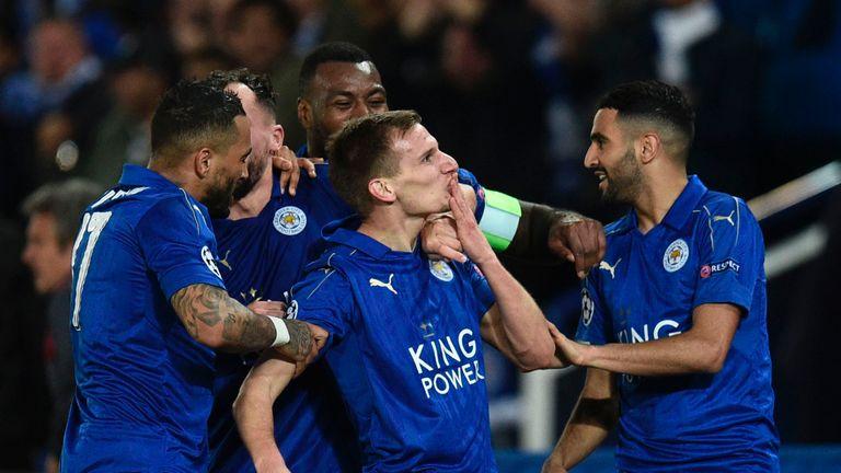 Marc Albrighton celebrates scoring Leicester's second against Sevilla